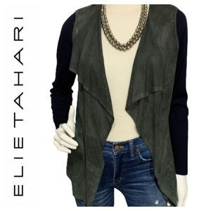 Elie Tahari Merino wool/lamb leather cardigan - M